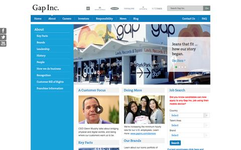 Screenshot of About Page gapinc.com - About - captured Sept. 23, 2014