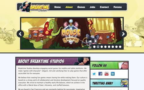 Screenshot of About Page breaktimestudios.com - Breaktime Studios  » About Breaktime Studios - captured Sept. 12, 2014