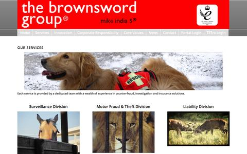 Screenshot of Services Page brownsword.com - the brownsword group ® |   Services - captured Feb. 8, 2016