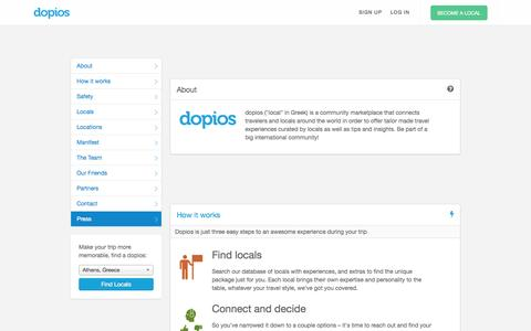 Screenshot of Contact Page Locations Page dopios.com - About | dopios - captured Sept. 15, 2014