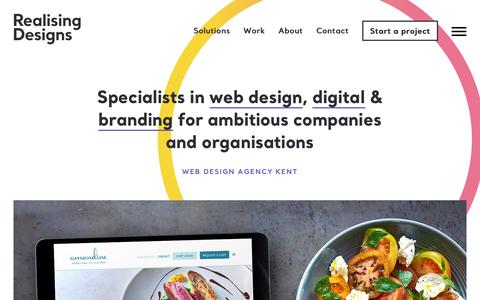 Screenshot of Home Page realisingdesigns.com - Web Design Agency Kent - Your Creative & Technical Partner - captured Oct. 20, 2018