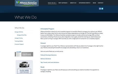 Screenshot of Services Page allianceautogas.com - Propane truck conversion, converting vehicles to propane | Alliance AutoGas - captured July 29, 2018