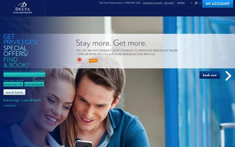 Screenshot of Home Page deltahotels.com - Delta Hotels and Resorts - Best Available Rate Guaranteed - captured Sept. 19, 2014