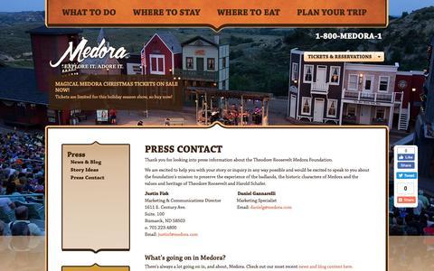 Screenshot of Press Page medora.com - Medora - Explore it. Adore it. | Press Contact - captured Nov. 25, 2016
