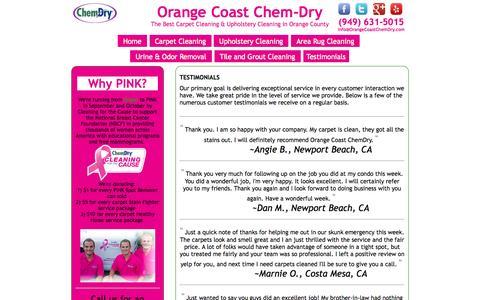 Screenshot of Testimonials Page orangecoastchemdry.com - Testimonials | Orange Coast Chem-Dry - captured Oct. 29, 2014