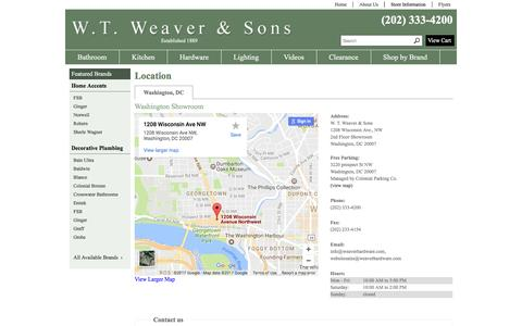 Screenshot of Contact Page Locations Page weaverhardware.com - Contact W. T. Weaver & Sons in District of Columbia - captured April 13, 2017