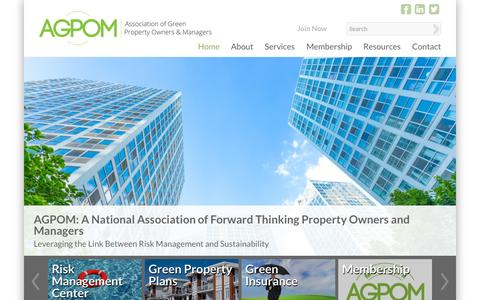 Screenshot of Home Page agpom.org - Association of Green Property Owners & Managers - captured Sept. 11, 2015