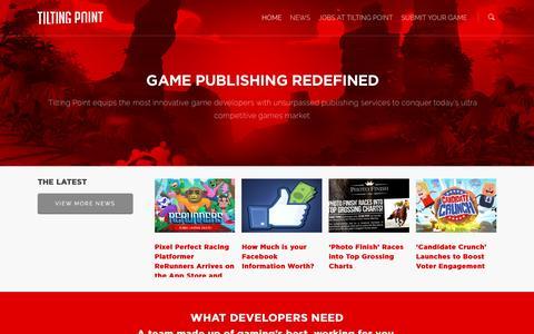 Screenshot of Home Page tiltingpoint.com - Tilting Point - Mobile Game Publisher - captured Sept. 11, 2016