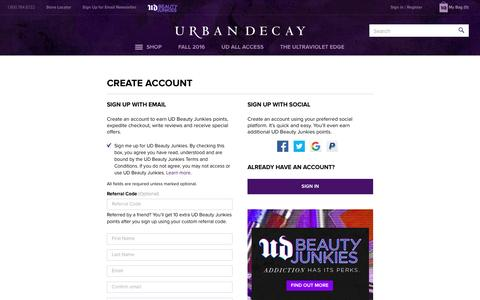 Screenshot of Signup Page urbandecay.com - Create Account | Urban Decay - captured Aug. 25, 2016
