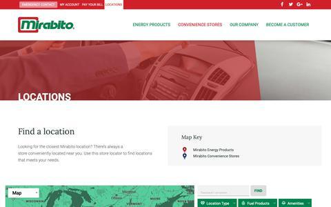 Screenshot of Locations Page mirabito.com - Locations | Mirabito Energy Products - captured Nov. 19, 2018