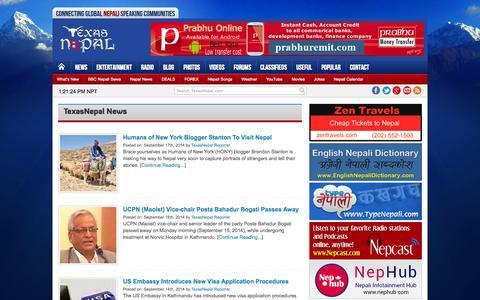 Screenshot of Press Page texasnepal.com - TexasNepal News - TexasNepal News provides latest news and happenings related to Nepali speaking communities around the world. - captured Sept. 22, 2014