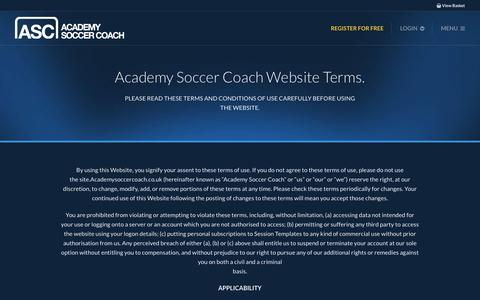 Screenshot of Terms Page academysoccercoach.co.uk - Terms & Conditions - Academy Soccer Coach | ASC - captured Feb. 5, 2016