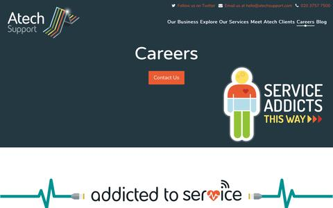 Screenshot of Jobs Page atechsupport.com - Find the IT Support Career You're Looking For - captured Oct. 9, 2017