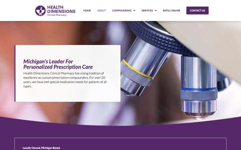 Screenshot of About Page hdrx.com - About - Health Dimensions Clinical Pharmacy | Personalized Care - captured Oct. 31, 2018