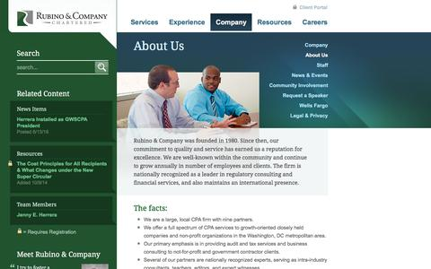 Screenshot of About Page rubino.com - About Us - Rubino & Company - captured Oct. 23, 2017