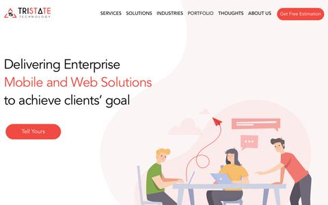 Screenshot of Home Page tristatetechnology.com - Mobile Application Development Company in India, USA & Australia - captured Aug. 14, 2019