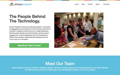 Screenshot of About Page alwaysprepped.com - Always Prepped Inc. - captured Oct. 28, 2014