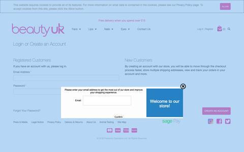 Screenshot of Login Page beautyukcosmetics.com - Customer Login - captured Nov. 9, 2018