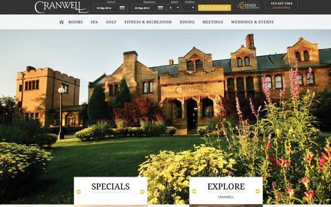 Screenshot of Home Page cranwell.com - Cranwell - Berkshires Resort in Lenox, MA: Spa, Golf and Resort - captured Sept. 19, 2014