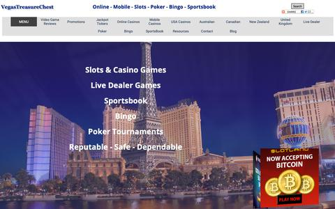 Screenshot of Home Page Menu Page vegastreasurechest.com - Online and Mobile Casino Reviews - Online + Mobile Casino Directory - captured Oct. 20, 2018