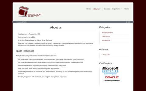 Screenshot of About Page tassacorp.com - About us - Tassa Corp - captured Oct. 27, 2014