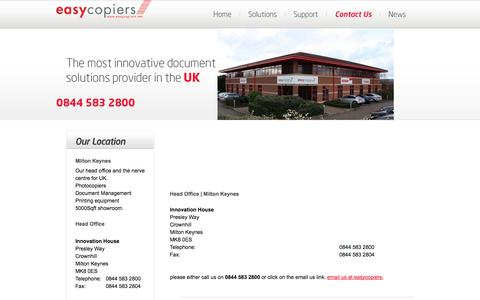 Screenshot of Contact Page easycopiers.net - easycopiers - Locations - Photocopier quotes, Contact Details - Prices, Which Photocopier - captured Oct. 22, 2014