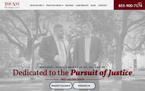 Screenshot of Home Page thenyelawgroup.com - The Nye Law Group | Personal Injury Lawyers - captured Aug. 19, 2019