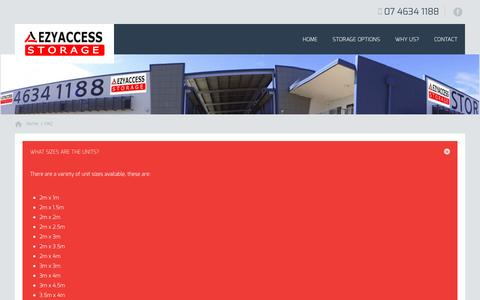 Screenshot of FAQ Page ezyaccessstorage.com.au - Frequently Asked Questions About Self Storage In Toowoomba - captured Dec. 14, 2015