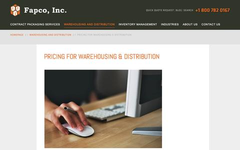 Screenshot of Pricing Page fapcoinc.com - Pricing for Custom Warehousing & Distribution Services - captured Aug. 12, 2018