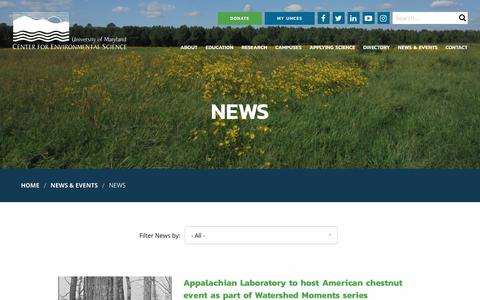 Screenshot of Press Page umces.edu - News | University of Maryland Center for Environmental Science - captured Oct. 5, 2018