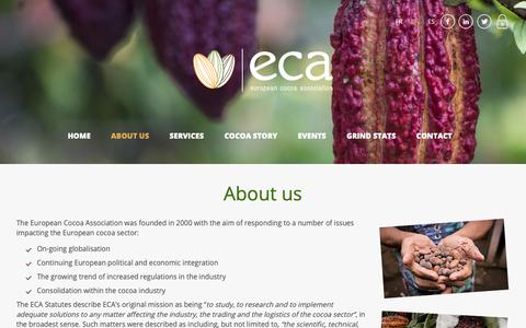 Screenshot of About Page eurococoa.com - About us | ECA European Cocoa Assocation - captured Sept. 29, 2018