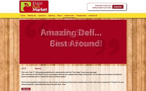 Screenshot of Testimonials Page elginfreshmarket.com - testimonials | Elgin Fresh Market - captured Nov. 1, 2014