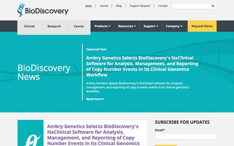 Screenshot of Press Page biodiscovery.com - BioDiscovery News - captured July 29, 2016