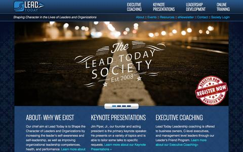 Screenshot of Home Page lead-today.net - Character and Leadership Development - Lead Today - captured June 18, 2015