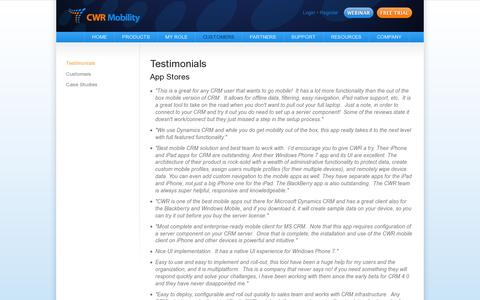 Screenshot of Testimonials Page cwrmobility.com - Mobile CRM Testimonials - CWR Mobility. Mobile CRM for Microsoft Dynamics 2011 and 2013 - captured July 19, 2014