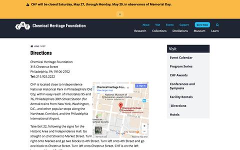 Screenshot of Maps & Directions Page chemheritage.org - Directions | Chemical Heritage Foundation - captured May 18, 2017