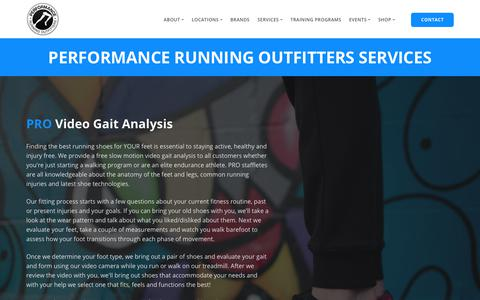 Screenshot of Services Page performancerunning.com - Services   Performance Running Outfitters - captured Dec. 14, 2018