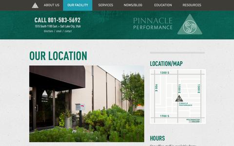 Screenshot of Contact Page Maps & Directions Page pinnacle4performance.com - Pinnacle Performance – Our Facility - captured Oct. 23, 2014