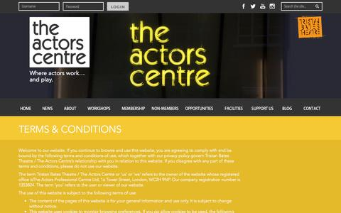 Screenshot of Terms Page actorscentre.co.uk - Terms & Conditions | The Actors Centre - captured July 24, 2016