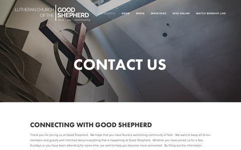 Screenshot of Contact Page lcgs.net - Contact Us — Lutheran Church of the Good Shepherd - captured Sept. 30, 2018