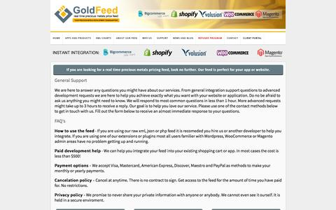 Screenshot of Privacy Page FAQ Page Support Page gold-feed.com - Gold and Silver API | Help and Support - captured Jan. 14, 2016
