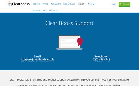 Screenshot of Support Page clearbooks.co.uk - Online, Phone and Email Support | Clear Books™ - captured Oct. 19, 2018