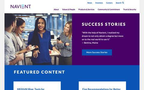 Screenshot of About Page navient.com - About | Navient - captured Oct. 10, 2018