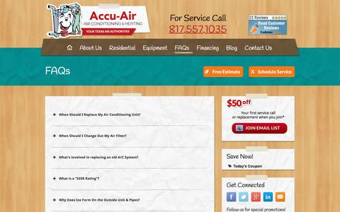 Screenshot of FAQ Page accu-air.com - FAQs - Air Conditioning, Arlington TX. HVAC, AC Repair and Installation - captured May 29, 2017