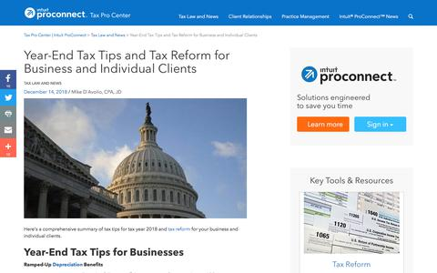 Screenshot of Press Page intuit.com - Year-End Tax Tips and Tax Reform for Business and Individual Clients | Tax Pro Center | Intuit ProConnect - captured Nov. 21, 2019