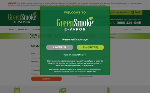 Screenshot of Login Page greensmoke.com - Customer Login  | Green Smoke® E-Vapor - captured May 3, 2017