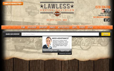 Screenshot of Home Page lawlessofscottcity.com - Harley-Davidson® Dealership in Scott City MO | Lawless Harley-Davidson® - captured Sept. 13, 2015