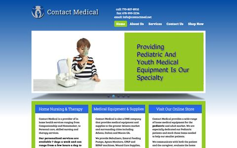 Screenshot of Home Page contactmed.net - Contact Medical | Providing Pediatric and Adult Medical Equipment and Home Nursing - captured Oct. 3, 2014