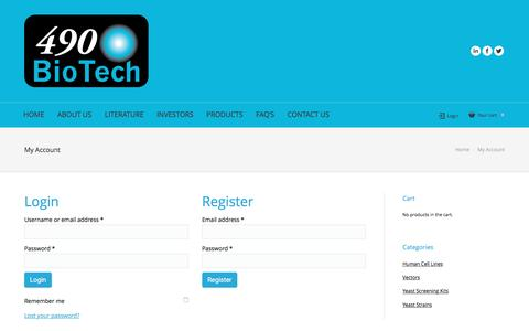Screenshot of Login Page 490biotech.com - My Account | 490BioTech - captured July 7, 2016