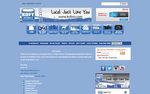 Screenshot of Contact Page kofytv.com - Contact Us | KOFY TV - captured Dec. 10, 2018